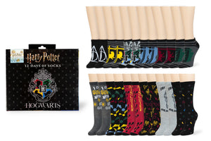 Harry Potter 12 Days of Socks Gift Set for Men & Women - 6 Crew | 6 Ankle