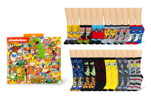 Nickelodeon 12 Days of Socks Gift Set for Men & Women | 6 Crew | 6 Ankle