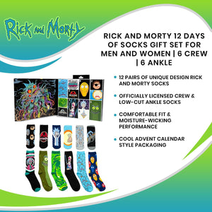 Rick and Morty 12 Days of Socks Gift Set for Men and Women | 6 Crew | 6 Ankle