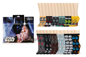 Star Wars 12 Days of Socks Gift Set for Men & Women - 6 Crew | 6 Ankle