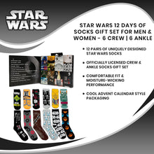 Load image into Gallery viewer, Star Wars 12 Days of Socks Gift Set for Men & Women - 6 Crew | 6 Ankle