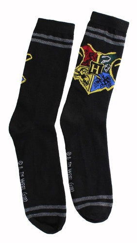 Harry Potter Black Hogwarts Crest Men's Crew Socks