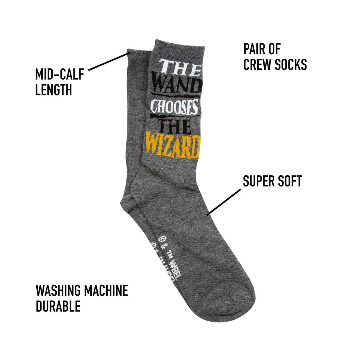 OFFICIAL Harry Potter Socks | The Wand Chooses the Wizard | Adult Crew Socks