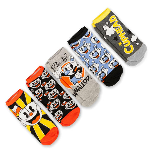 Cuphead Collectibles Adult Ankle Socks | Cuphead & Mugman Wallop Socks | 5 Pack