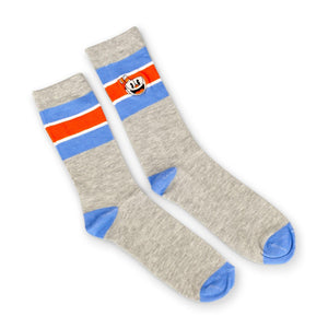 OFFICIAL Cuphead Striped Grey Crew Socks | Soft Socks Perfect for Cuphead Fans