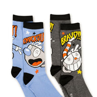 Cuphead Adult Crew Sock | Cuphead and Mugman Socks | 2-Pack Bravo and Knockout