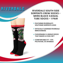 Load image into Gallery viewer, Riverdale South Side Serpents Crew Socks - Mens Black Casual Tube Socks - 1 Pair