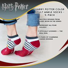 Load image into Gallery viewer, Harry Potter Color Adult Ankle Socks - 5-Pack