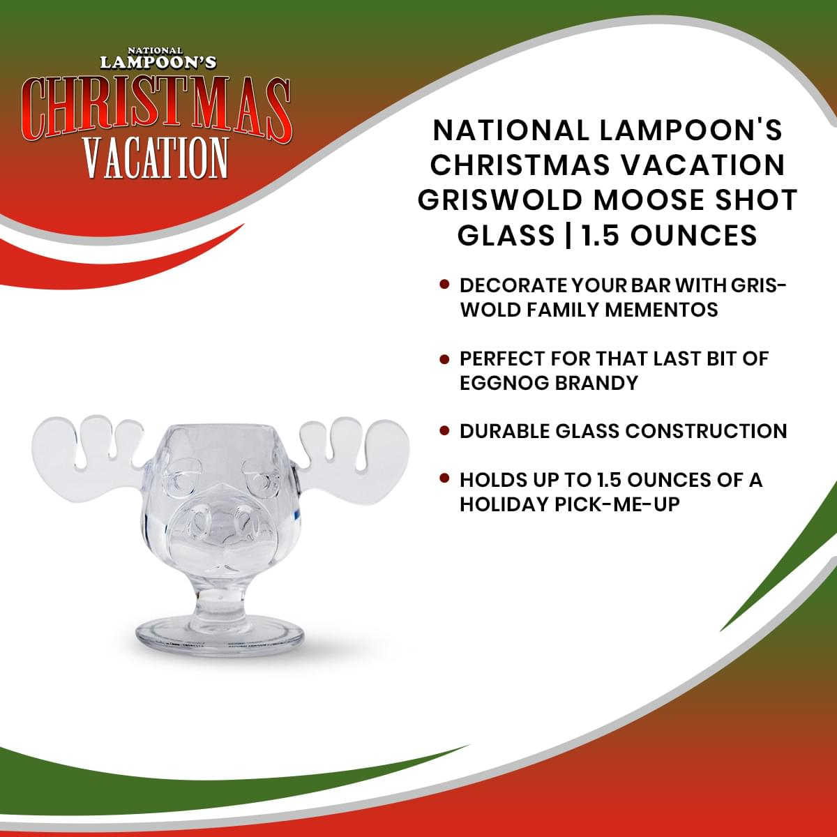 National Lampoon's Christmas Vacation Griswold Moose Shot Glass | 1.5 Ounces