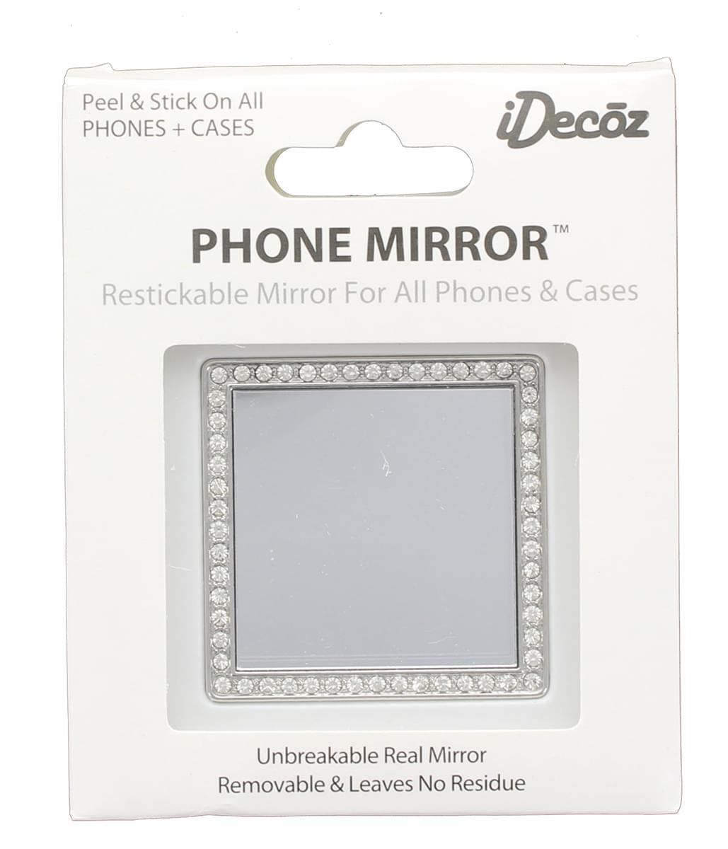 iDecoz Phone Mirror: Silver Square w/ Crystals
