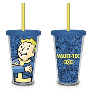 Fallout Vault Boy Vault-Tec (Blue) 18oz. Travel Cup with Straw