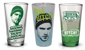 Breaking Bad Jesse Pinkman 16oz Pint Glass Bundle, Set of 3