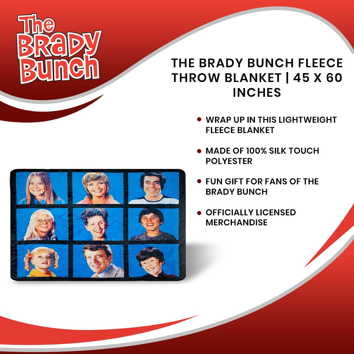 The Brady Bunch Fleece Throw Blanket | 45 x 60 Inches
