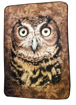 Owl Face Lightweight Fleece Throw Blanket | 45 x 60 Inches