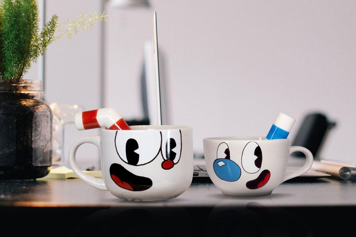 Cuphead & Mugman Official Mug Set | Ceramic Mugs With Stirring Straw | 20 Oz.