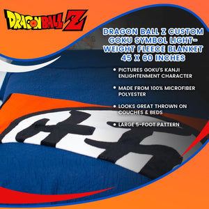 Dragon Ball Z Custom Goku Symbol Lightweight Fleece Blanket | 45 x 60 Inches