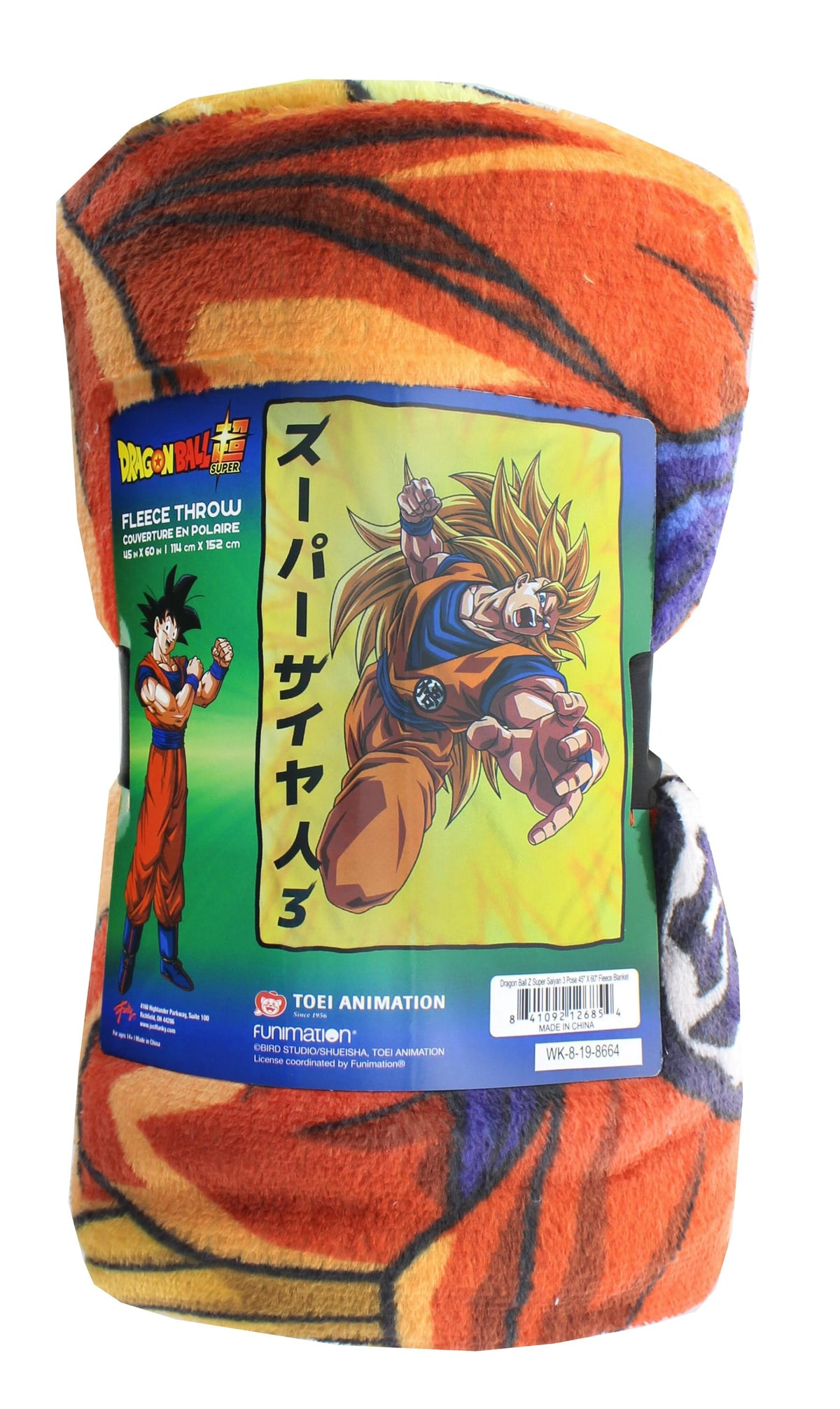 Dragon Ball Z Goku Super Saiyan 3 Japanese Fleece Throw Blanket | 60 x 45 Inches