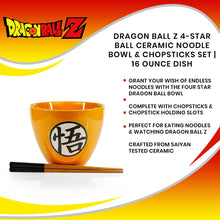 Load image into Gallery viewer, Dragon Ball Z 4-Star Ball Ceramic Noodle Bowl & Chopsticks Set | 16 Ounce Dish