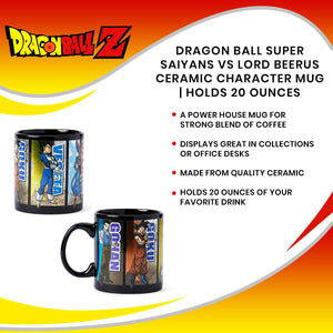 Dragon Ball Super Saiyans VS Lord Beerus Ceramic Character Mug | Holds 20 Ounces