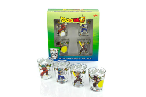 Dragon Ball Super Official Character Shot Glasses | 2-Ounce Glasses | Set of 4