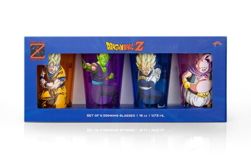 Dragon Ball Z Fighters Pint Glasses | 16-Ounce Character Glasses | Set of 4