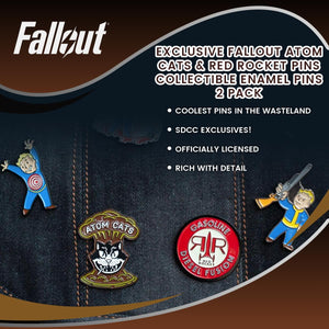 EXCLUSIVE Fallout Atom Cats & Red Rocket Pins | Collectible Enamel Pins | 2 Pack