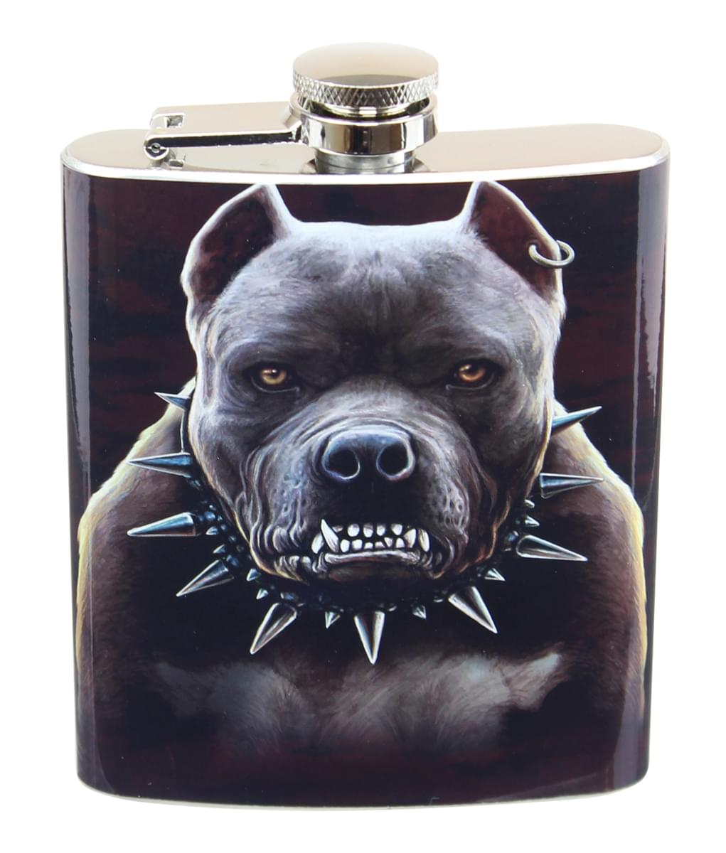 Growling Pitbull 7oz Flask