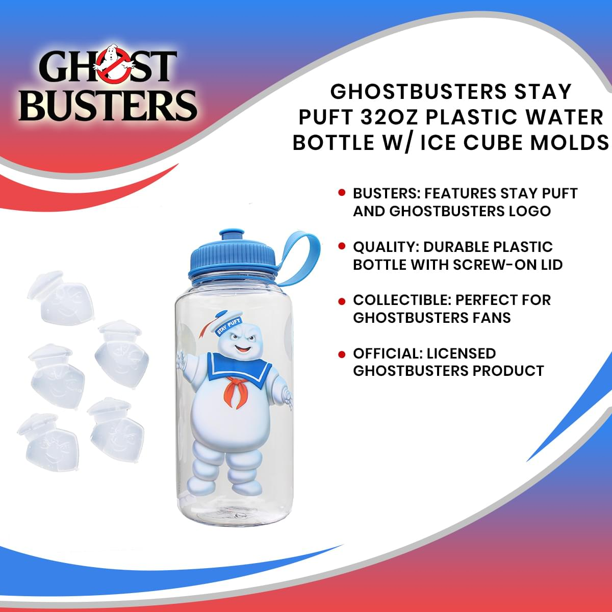 Ghostbusters Stay Puft 32oz Plastic Water Bottle w/ Ice Cube Molds