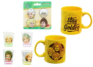 The Golden Girls 4-Piece Enamel Pin set, Shot Glass 4-Pack and Coffee Mug Gift Bundle