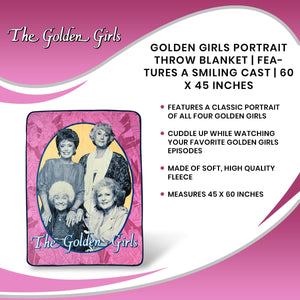 Golden Girls Portrait Throw Blanket | Features A Smiling Cast | 60 x 45 Inches