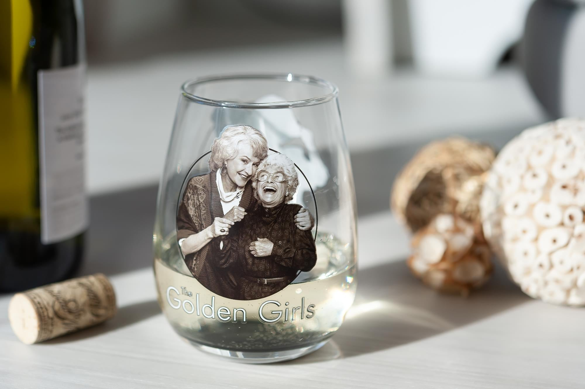 The Golden Girls Black and White Stemless Wine Glass - 16-Ounces