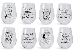 The Golden Girls Stemless Wine Glass Collectible Set of 4| Each Holds 16 Ounces