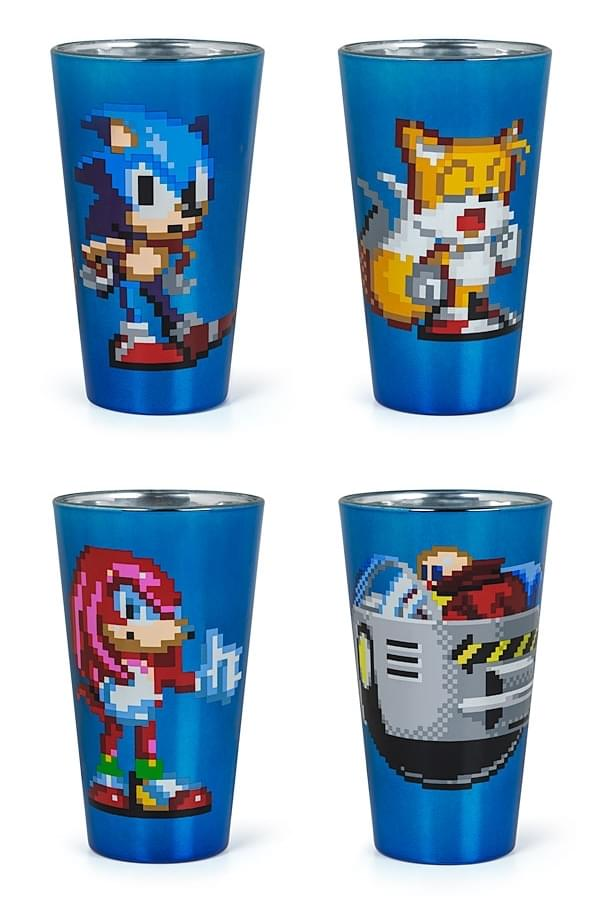 Sonic The Hedgehog Pixelated Pint Glass Set of 4