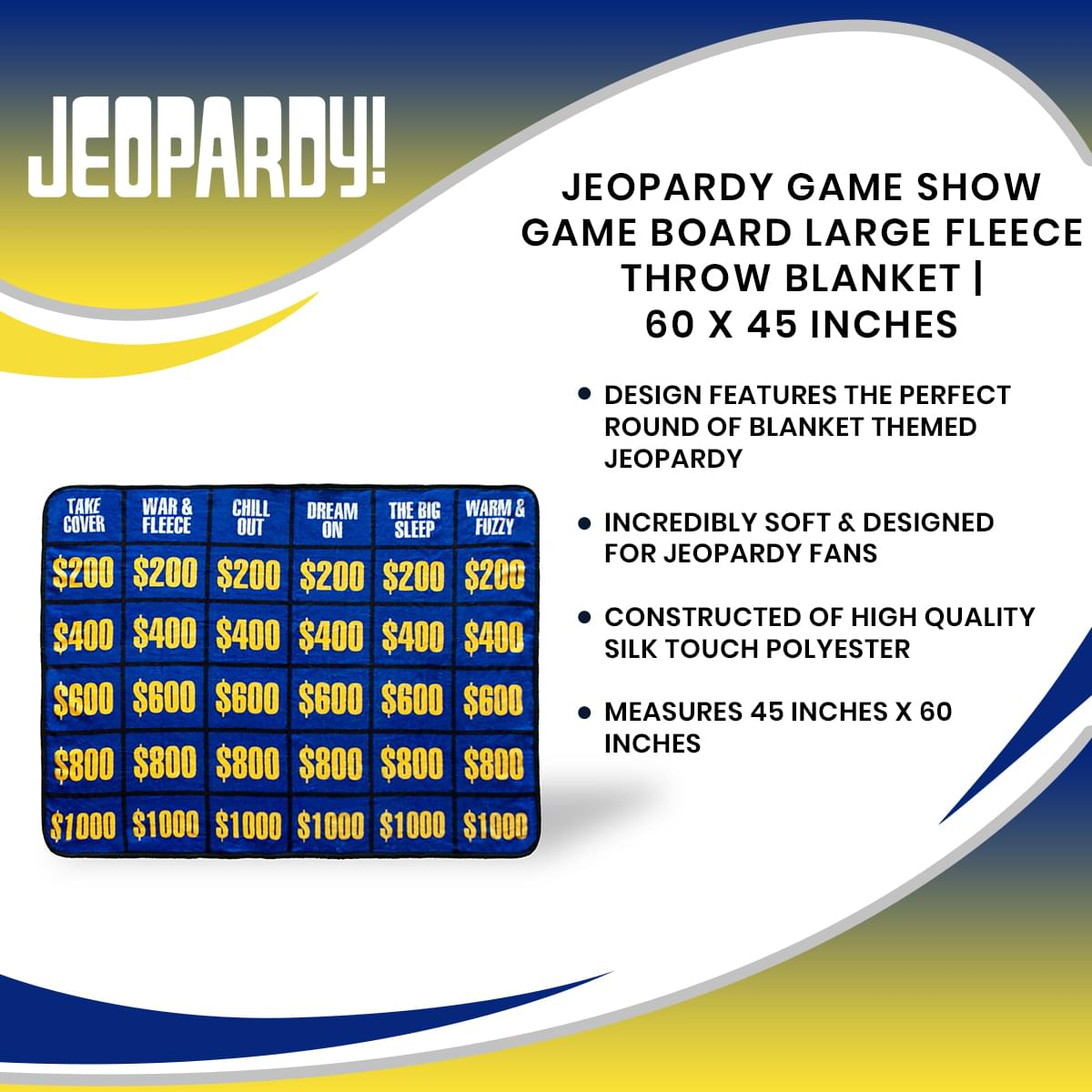 Jeopardy Game Show Game Board Large Fleece Throw Blanket | 60 x 45 Inches