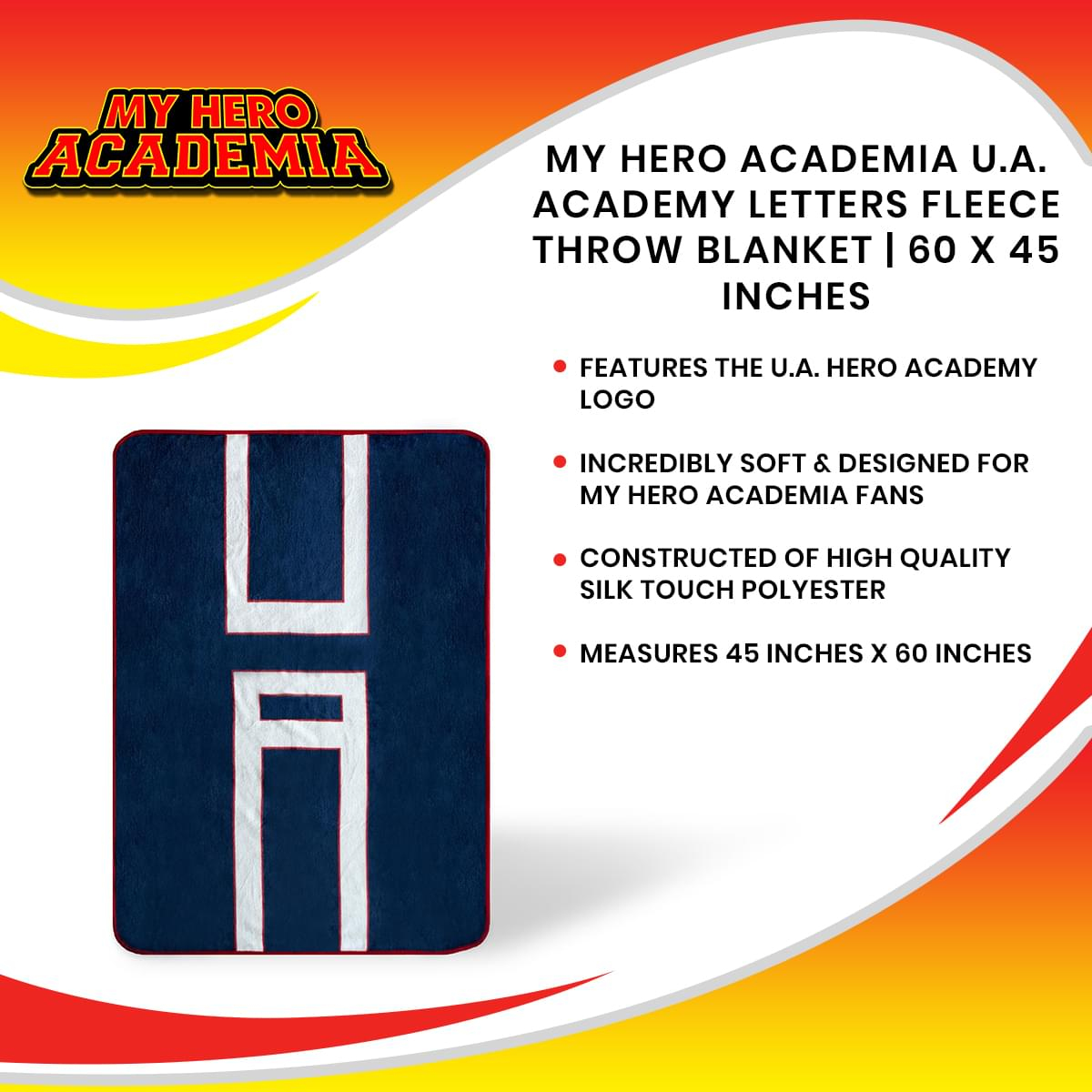 My Hero Academia U.A. Academy Letters Fleece Throw Blanket | 60 x 45 Inches