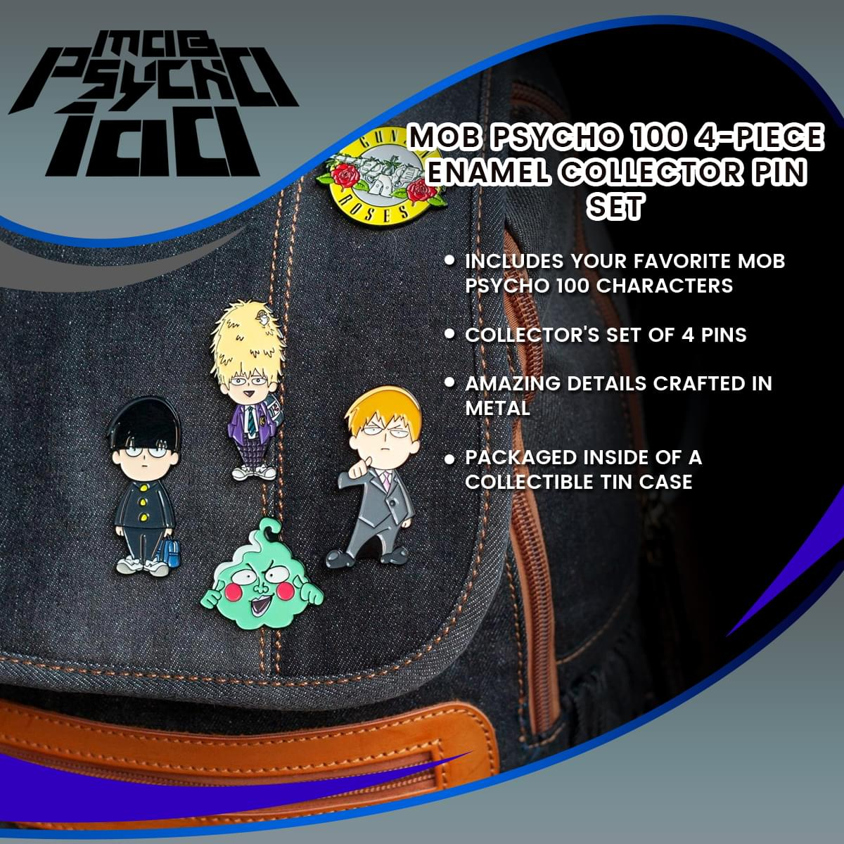 Mob Psycho 100 4-Piece Enamel Collector Pin Set