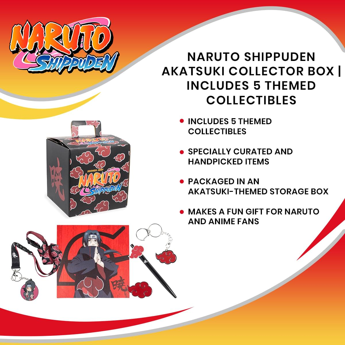 Naruto Shippuden Akatsuki Collector Looksee Box | Includes 5 Themed Collectibles