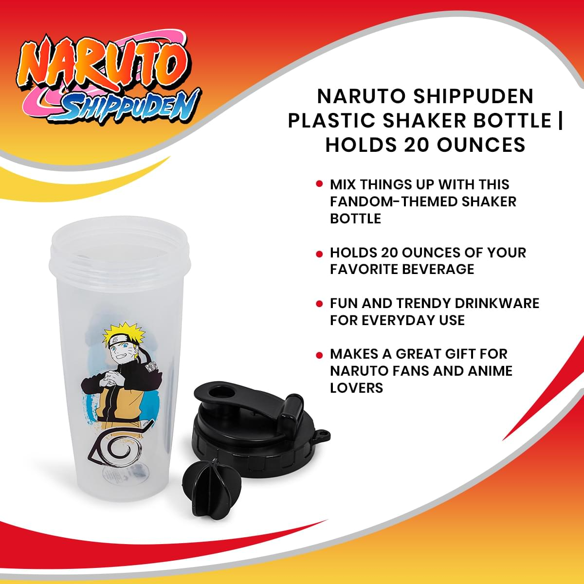 Naruto Shippuden Plastic Shaker Bottle | Holds 20 Ounces