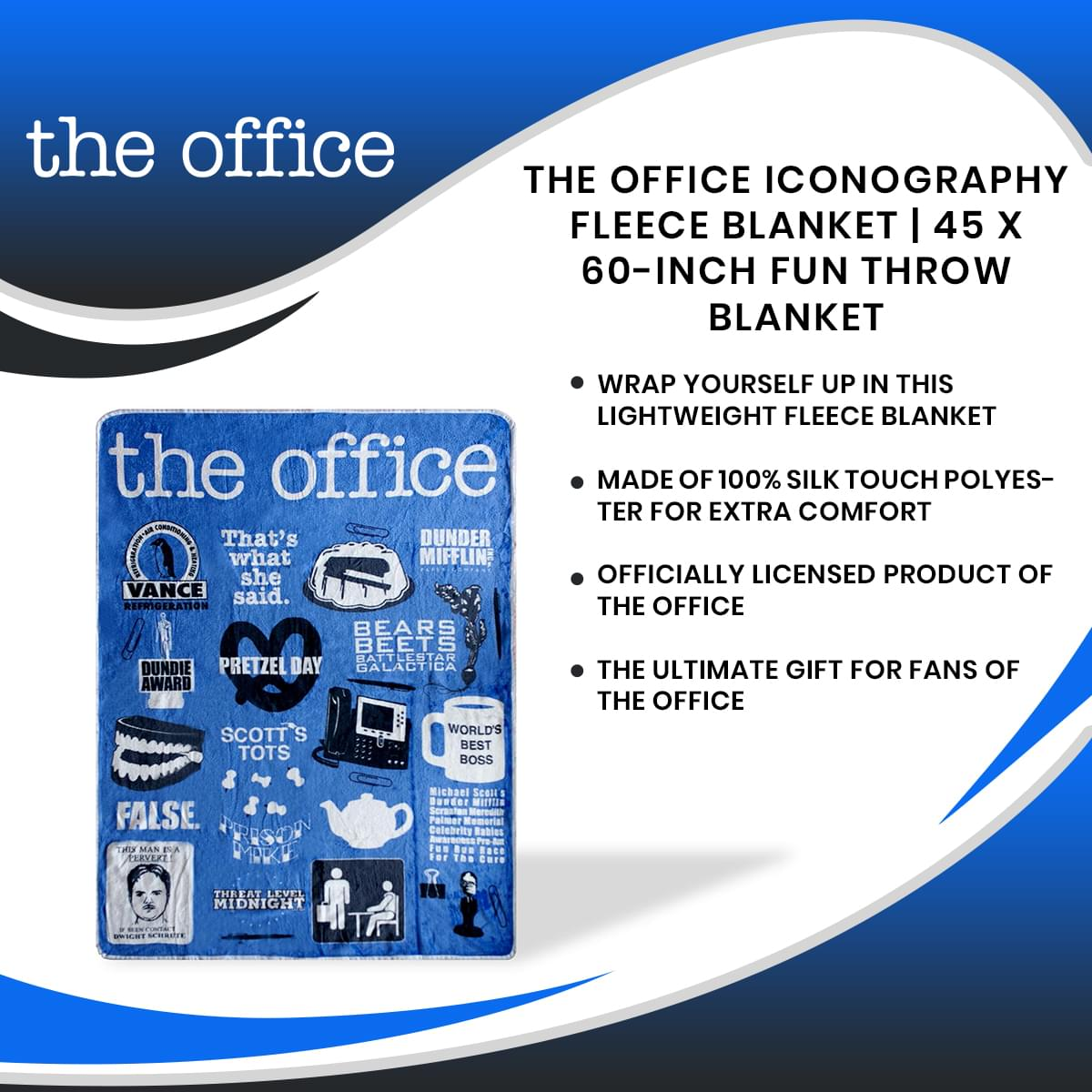 The Office Iconography Fleece Blanket | 45 x 60-Inch Fun Throw Blanket