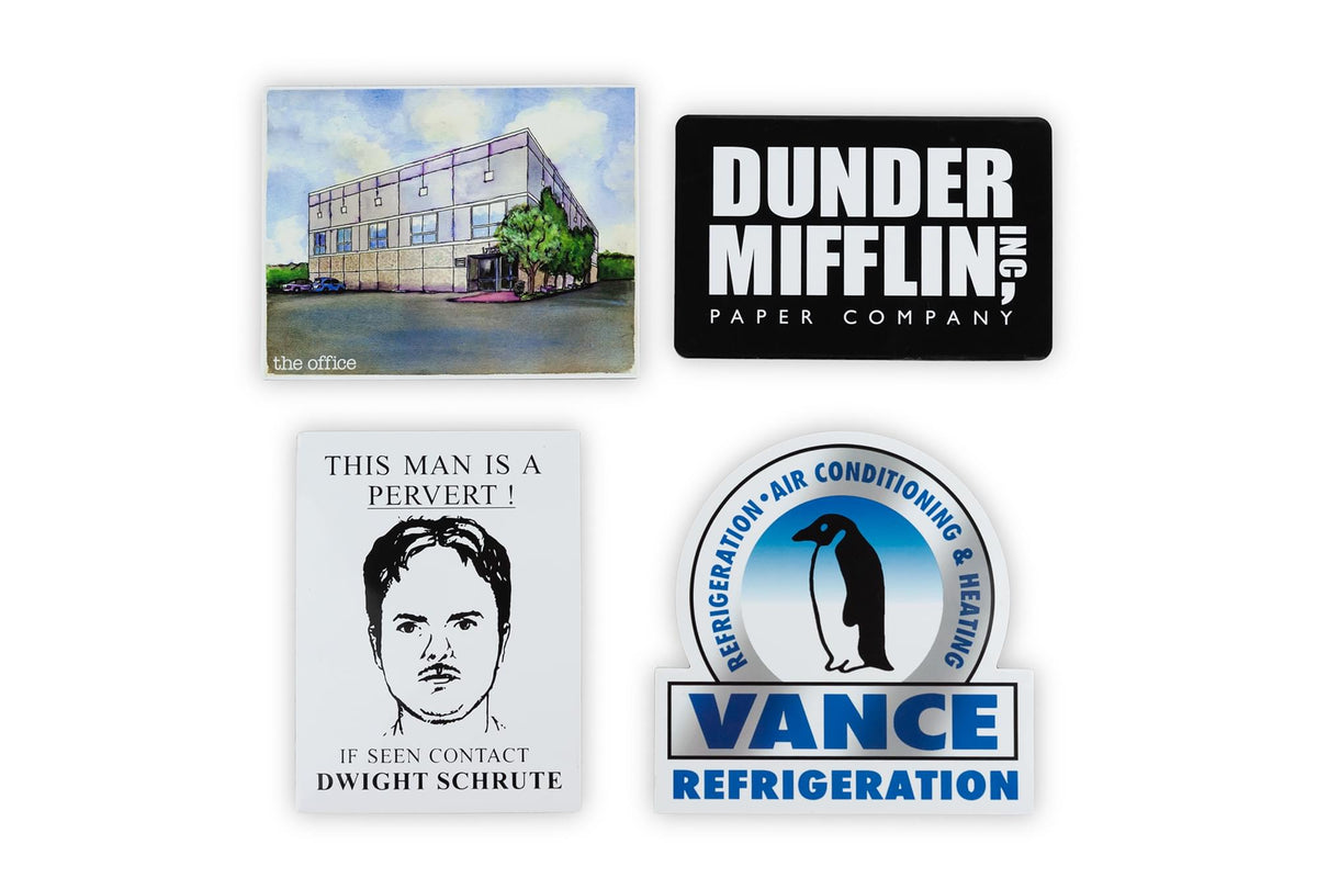 The Office Fridge Magnet Set - 4pcs Cool 4x3 Inches Flat Refrigerator Magnets
