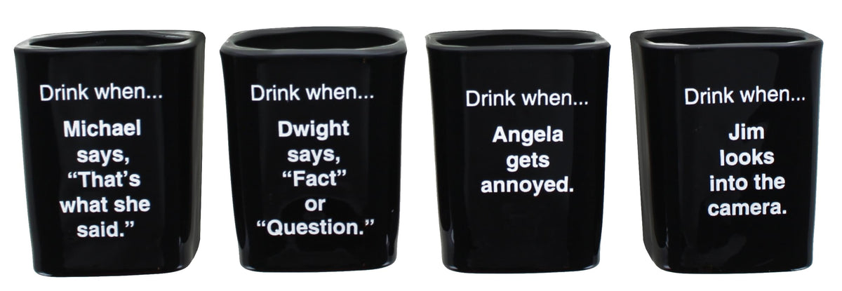 The Office Character Shot Glass Drinking Game | 2 Ounce Glasses | Set of 4