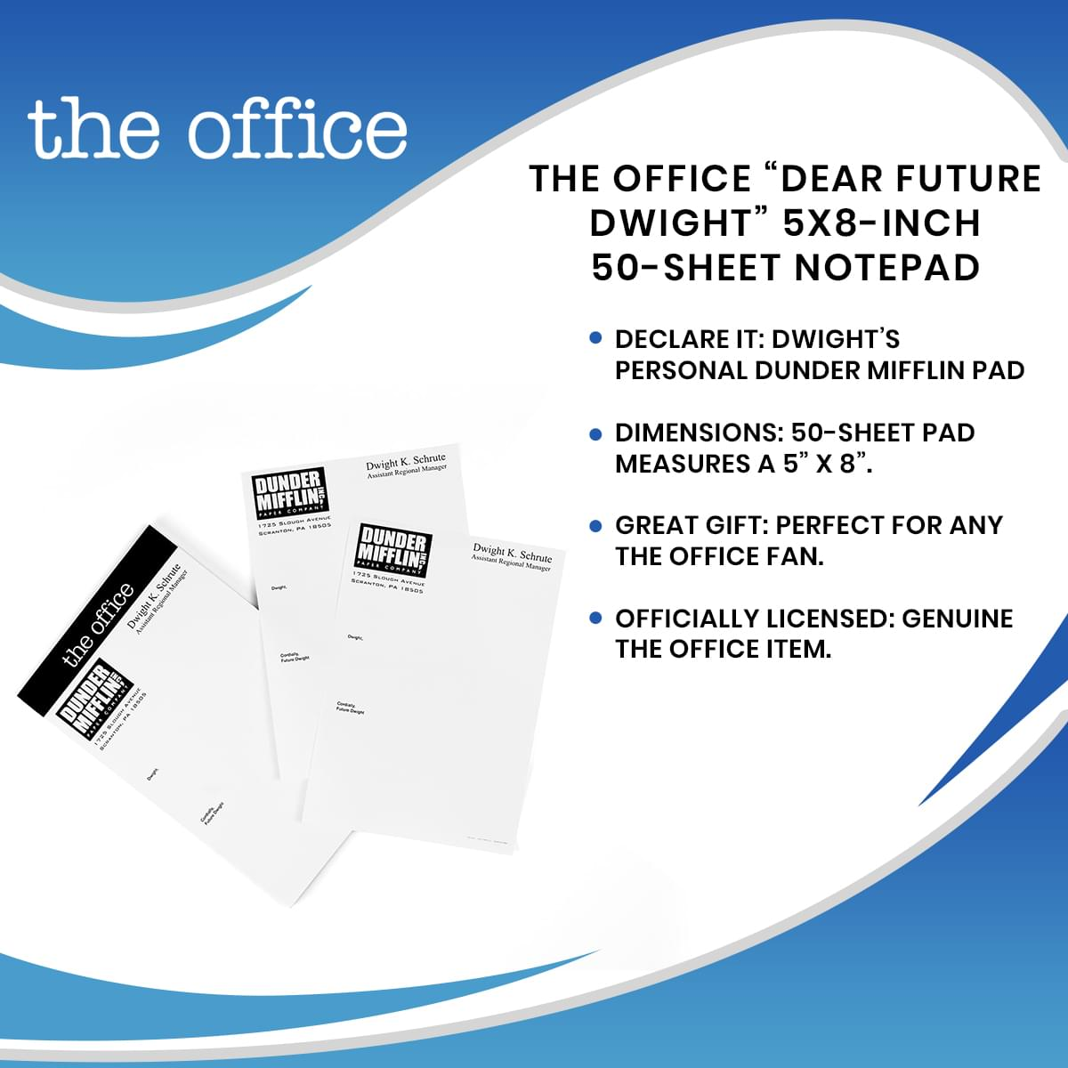 "The Office ""Dear Future Dwight"" 5x8-Inch 50-Sheet Notepad"