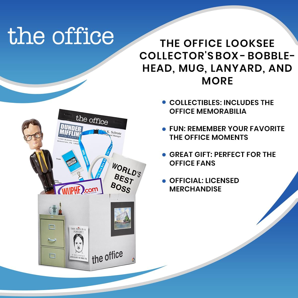 The Office LookSee Collector's Mystery Gift Box - Bobblehead, Mug, Lanyard, And More