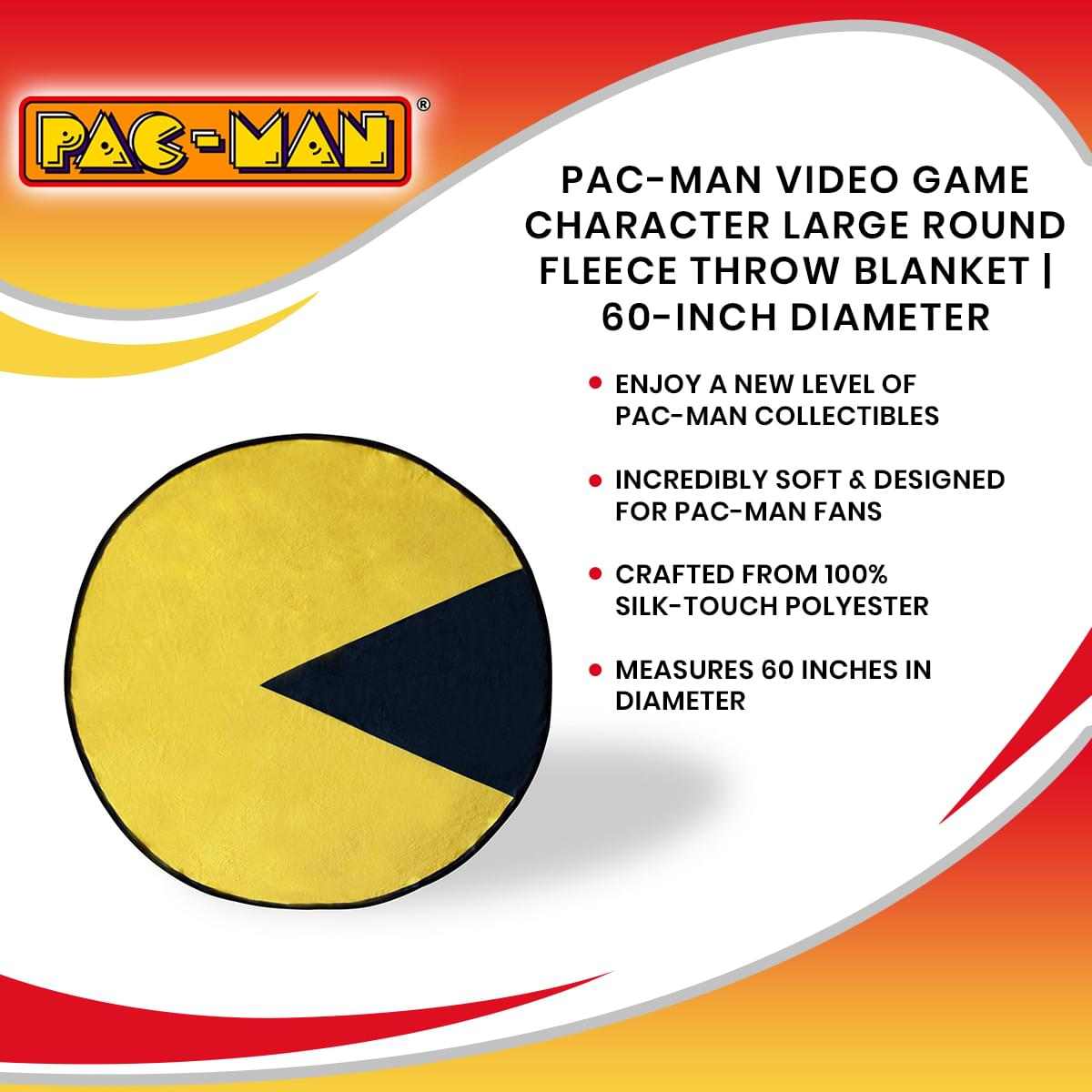 Pac-Man Video Game Character Large Round Fleece Throw Blanket | 60-Inch Diameter