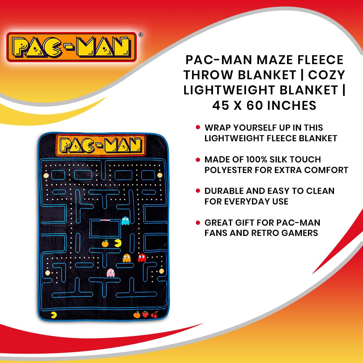 Pac-Man Maze Fleece Throw Blanket | Cozy Lightweight Blanket | 45 x 60 Inches