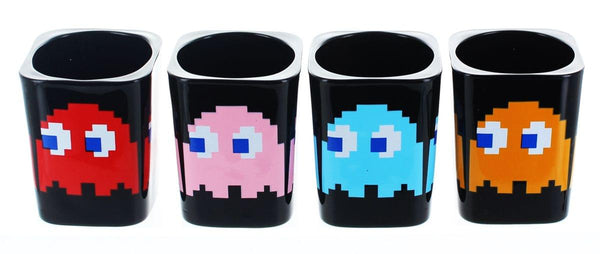 Pacman Square Molded Shot Glasses Set of 4