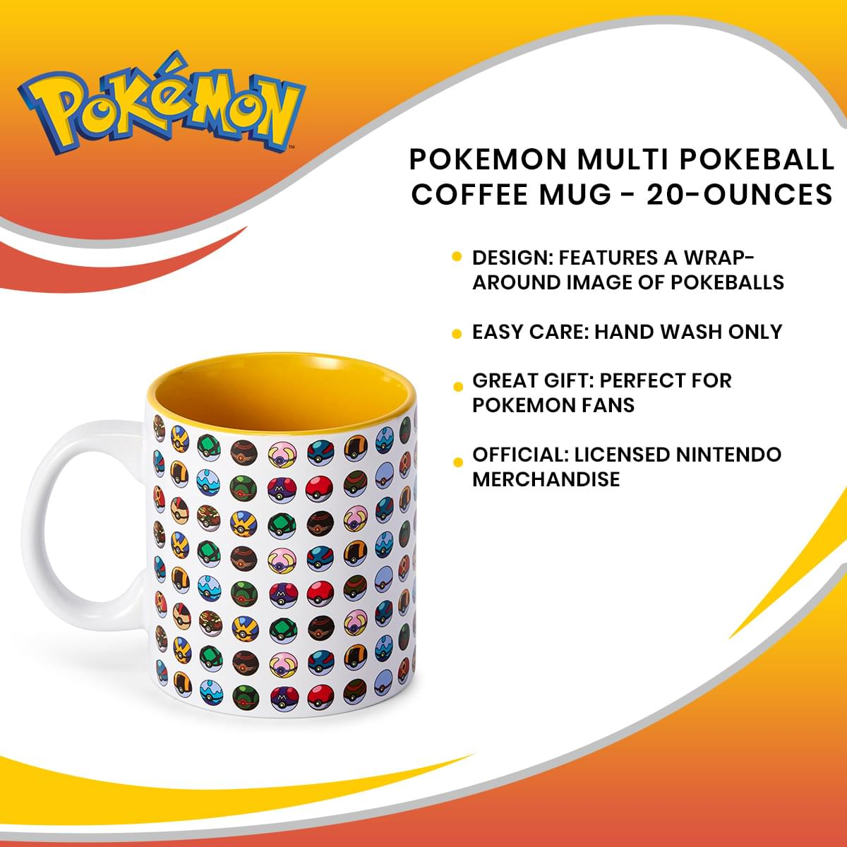 Pokemon Multi Pokeball Coffee Mug - 20-Ounces