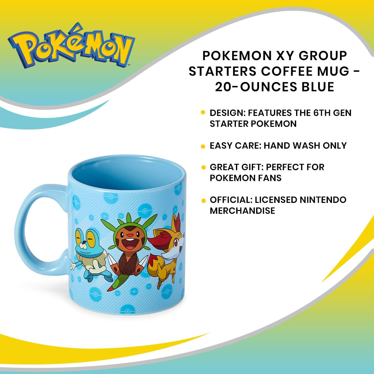 Pokemon XY Group Starters Coffee Mug - 20-Ounces Blue