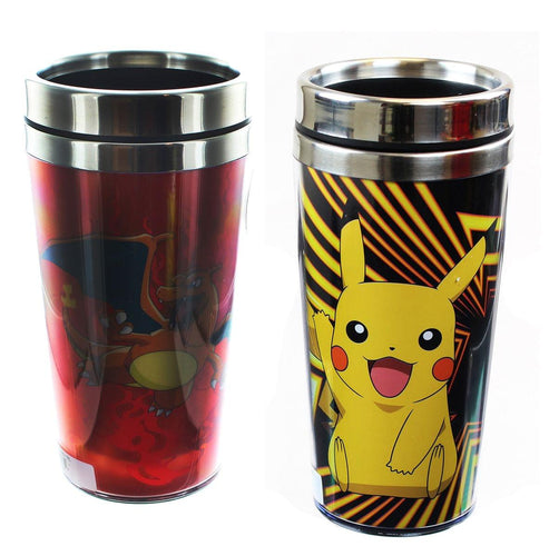 Pokemon 16oz Travel Mug Set: Charizard, Pikachu
