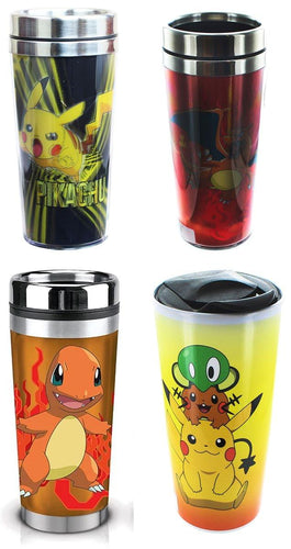 Pokemon 16oz Travel Mug Set: Charizard, Charmander, Pikachu, Group
